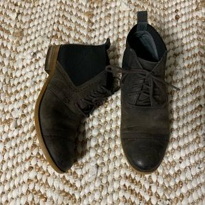 Brown Franco sarto lace up booties size 6 1/2